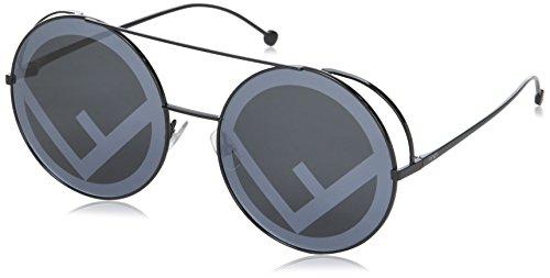 Fendi FF0285/S 807 Black FF0285/S Round Sunglasses Lens Category 3 Lens Mirrore, 63mm