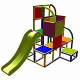 move and stic Helge großer Spielturm / Kletterturm mit Rutsche für Kleinkinder (7 Farben Multicolor)