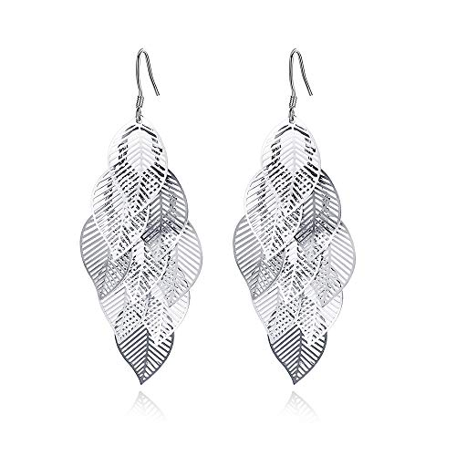 925 Sterling Silver Leaves Drop Earrings Long Tassel Dangle Earrings Women Jewellery