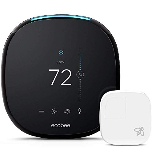 Ecobee4 Smart Wi-Fi Programmable Thermostat with Built-in Alexa Voice and Room Sensor Included, Black (Non-Retail Packaging)