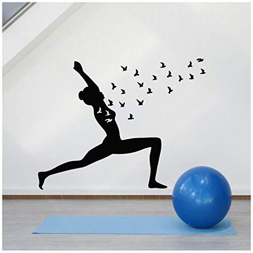 Hanzeze Vinyl wandsticker yoga pose vogel bemiddeling meisje Zen balans muur sticker venster glas 57x72 cm