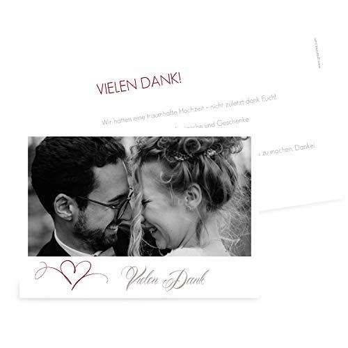 greetinks Hochwertige Dankeskarten zur Hochzeit in Rot | Inkl. Druck Ihrer Texte und Fotos | Doppelseitige Karte | 50 Stück | Herz | Danksagungskarten