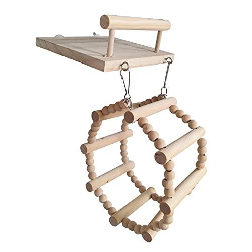 Pájaros con plataforma, soporte para pájaros, parque de juegos, de madera natural, lazos para patas, pico, limpieza de pico, gancho para loro, accesorios para jaulas de periquito
