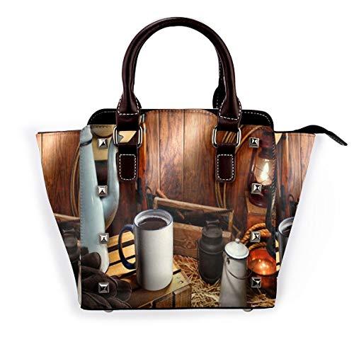 BROWCIN Westliche alte amerikanische West-Emaille-Kaffeetasse und Weinlese-Kanne mit traditionell arbeitenden Cowboy-Werkzeugen Abnehmbare mode trend damen handtasche umhängetasche umhängetasche
