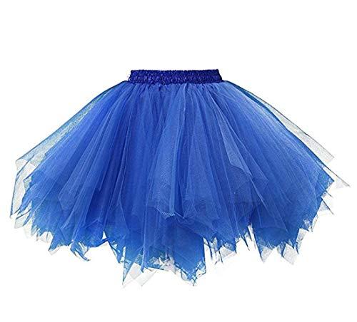 Ksnnrsng Damen Tüllrock tütü Rock 50er Rockabilly Petticoat Tutu Unterrock Kurz Ballett Tanzkleid Cosplay Ballkleid Abendkleid (Königsblau, M)