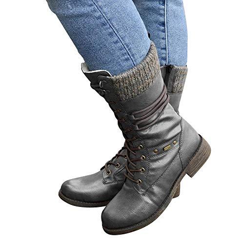 Botas de tacón bajo hasta la pantorrilla, impermeables, cálidas y cómodas, para mujer, puntera redonda, impermeables, con cordones, botas de combate de trabajo, botas de tacón bajo, botines, gris_35