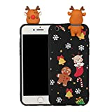 LAXIN For Apple iPhone 6s Plus Case, Shockproof Xmas Christmas Design Slim Bumper Cushion Cover,Transparent Scratch Resistant Silicone TPU Case for Apple iPhone 6 Plus (5.5 inch)-Christmas Elk
