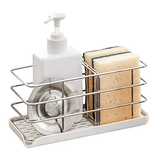 304 Stainless Steel Sponge Holder, Multifunctional Kitchen Sink Organizer Sink Caddy Sink Tray Drainer Rack Brush Soap Holder | Hanging Adjustable Panel | Adhesive Hooks | Auto Overflow (White)