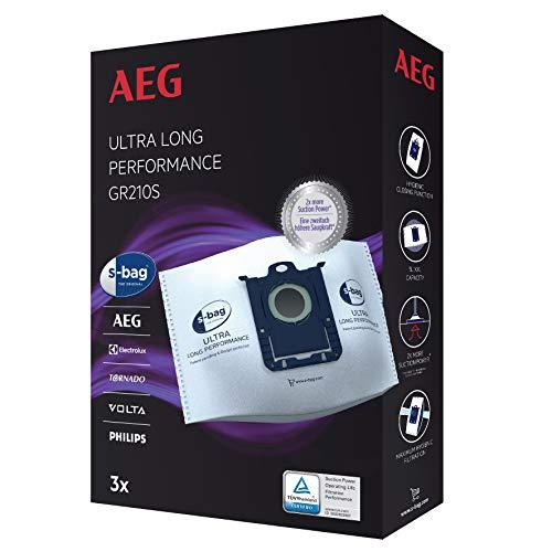 AEG GR210S s-bag Ultra Long Performance Staubsaugerbeutel (3 XXL Synthetik Staubbeutel für dauerhaft hohe Saugleistung, optimale Filtration, Hygieneverschluss, 5 Liter Volumen, weiß)