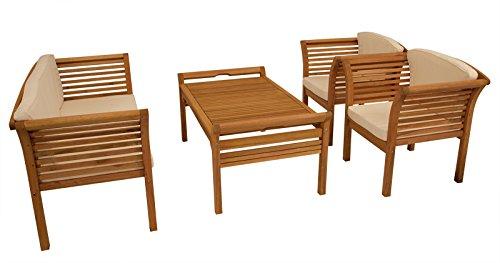DEGAMO Loungeset Holz 4-teilig aus Eukalyptus Holz, mit Polstern Creme, FSC®-Zertifiziert