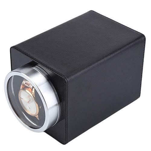 Enrollador de reloj automático,caja de almacenamiento de reloj de pulsera automática individual con cuero de pu de calidad y motor súper silencioso para varias ocasiones,como relojería,joyería