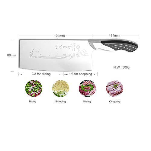 SHI BA ZI ZUO 7 Inch Chinese Kitchen Knife Vegetable Knife Professional Chef Knife with Stainless Steel Full Tang Cast Steel Handle