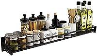 カトラリーラックキッチン棚、キッチン調味料棚壁掛け調味料棚スパイスラック(ブラックステンレススチール製)パンチフリー40Cm、50Cm、60Cm、70Cm、80Cm、90Cm、100Cm、110Cm(色:40Cm)