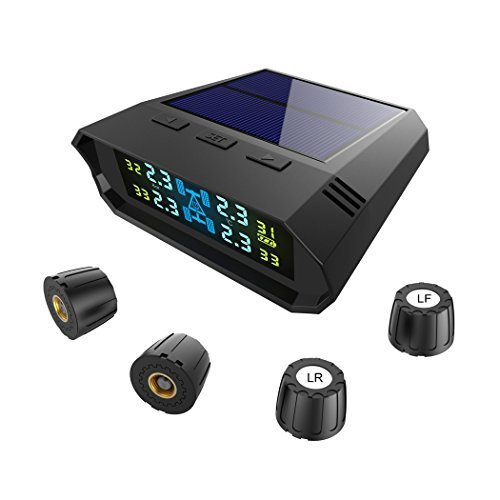VICTONY Solar Power Tire Pressure Monitoring System,Wireless TPMS with LCD Color Display/4 External Sensors,Tyre Pressure/Temperature TPMS Alarm Detector…
