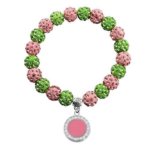 UJIMS Pink and Green Pearl Bracelet Sorority Paraphernalia Gift Graduation Earrings for Women Girls (AKA Bead Bracelet)