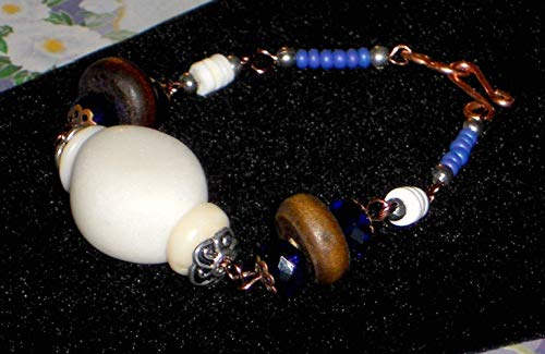 Bohemian Wire Wrapped Copper Link Bracelet with Cobalt Crystal Wood White Stone