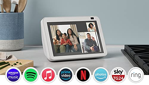 Nuovo Echo Show 8 (2ª generazione, modello 2021) | Schermo intelligente HD con Alexa e telecamera da 13 MP | Bianco ghiaccio