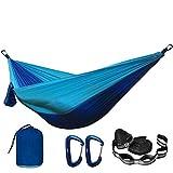 FENGSZ Hamaca de paracaídas de Camping con Correas de Hamaca y mosquetón de Aluminio de 260 cm * 140 cm, con 500 Libras, para Exteriores, Patio, Azul y Azul Claro