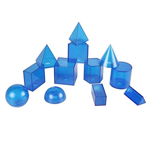 TOYANDONA 12 Piezas Modelo geométrico Bloques geométricos Transparentes Prisma Triangular pirámide Rectangular Modelo cuboide para niños Estudiantes