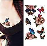 Upstore 1SHEET (6pcs) 6modelli impermeabile tatuaggio temporaneo 3D farfalla fiore rose Tattoo decalcomania da DIY Art supply falso tatuaggi di trasferimento dell' acqua corpo tatuaggi e donna