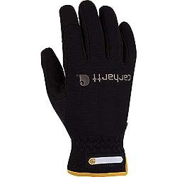 cheap Carhartt Workflex Spandex Men's Work Gloves, Water Repellent Palm Cover Black Large