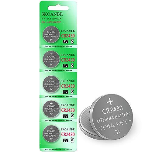 SKOANBE 5Pack CR2430 2430 ECR2430 3V Lithium Coin Battery