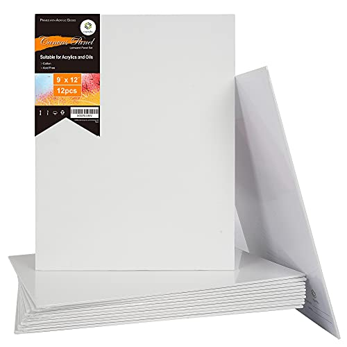 CONDA Artist Canvas Panels 9 x 12 inch, 12 Pack, Primed, 100% Cotton, Artist Quality Acid Free Canvas Board for Painting & Oil