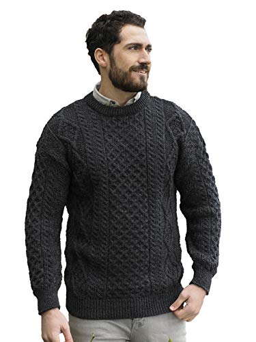 Aran Crafts Irish Soft Cable Knitted Wool Crew Neck Sweater (C1347-XL-CHAR) Charcoal