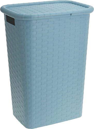 Spetebo Wäschebox in Flechtoptik 65 Liter - türkis - Wäschetruhe Wäschekorb