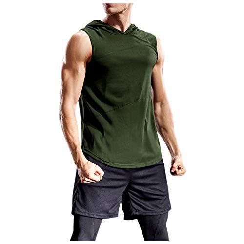 Yowablo Tank Top Herren Sport Ärmellos Hoodie Fitness Muskelshirt Für Gym Workout Bodybuilding Unterhemden (XL,Grau)
