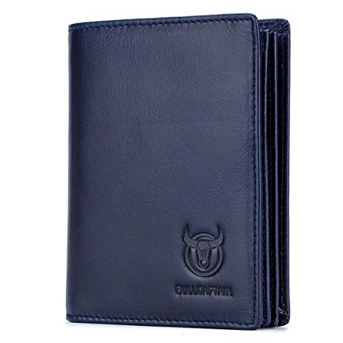 Bullcaptain Large Capacity Genuine Leather Bifold Wallet/Credit Card Holder for Men with 15 Card Slots QB-027 (Blue)