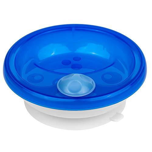 primamma Warmhalteteller für Babys, Babygeschirr zum Warmhalten der Mahlzeit, Babyteller mit Saugring für rutschfesten Stand, ab 6+ Monate, blau