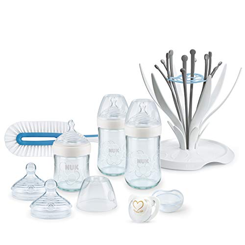 NUK Nature Sense Glasflaschen Set, 3 Babyflaschen (1x 120ml & 2x 240ml), Trinksauger, Flaschenbürste, Multi Dry und Genius Schnuller, BPA-Frei, 0-6 Monate, weiß