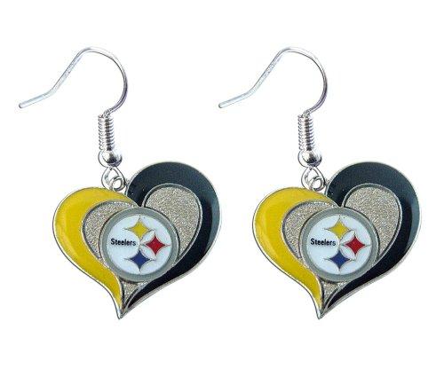 aminco womens NFL Pittsburgh Steelers Swirl Heart Earrings Multi, One Size