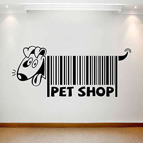 Calcomanías de pared de animales para perros, puertas y ventanas de código de barras creativas, pegatinas de vinilo, arte, tienda de mascotas, decoración de interiores, papel pintado con letras lindas