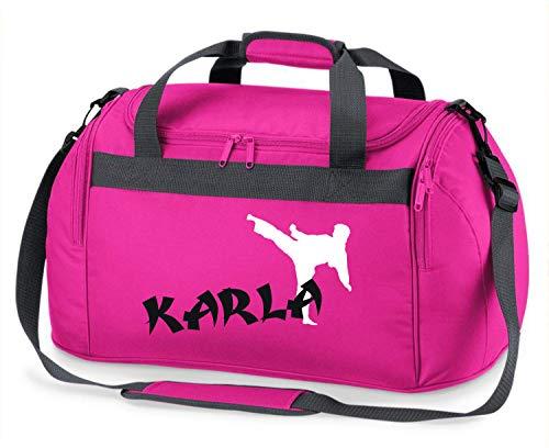 Sporttasche mit Namen | Motiv Karate in weiß & rot für Jungen & Mädchen | Reisetasche zum Umhängen (pink)