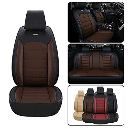 Dinuoda Fundas de asiento de coche PU cojín de cuero conjunto completo estándar 5 asientos para BMW Serie 2 F22 F23 F45 218i 220i 228i 225i asiento de coche cojín protección cojín negro café