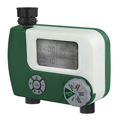 PT-KMKMING 1 Satz Doppel Outlet Bewässerung Timer, Bewässerungssteuerung Automatischer elektronischer Hahn für Gewächshausanbau, Sämling Anbau, Hinterhof-Garten
