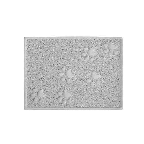 Delmkin Napfunterlage Hund Katzen Silikon Fressnapf Unterlage Napfunterlage wasserdichte und rutschfeste für Katzenstreu/Schüssel, 30x40cm (Grau)