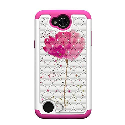 MAOOY Hülle LG X Power2, LG K10 Power Glitzer Hülle, Bling Glitter Diamant Hartplastik Handytasche mit Abnehmbar Weich Silikon innerer Fall für LG X Power2, Rose Blume