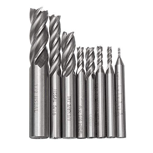 LFDHSF Schraubendreher-Satz, 8 Stück/Satz Fräser Bohrer Werkzeuge Vollhartmetall-Fräser 4 Flöte HSS 1/16-1/2 Zoll