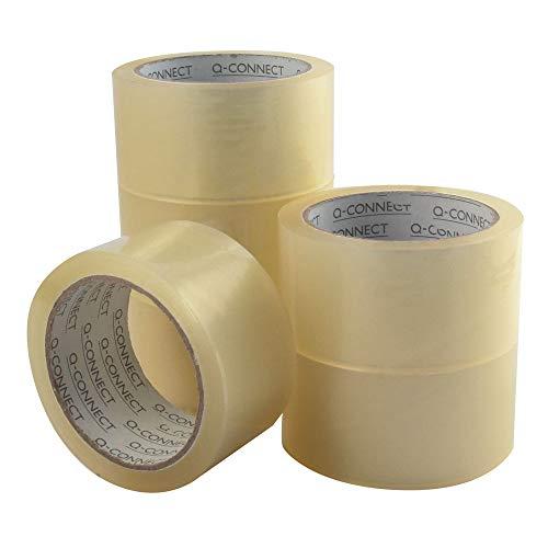 Q-Connect KF04382 Cinta Adhesiva Polipropileno Transparente 66 Mt X 50 Mm -Para Embalaje -Bajo Ruido