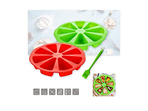 Silicone Cake Mould with Brush, Bake Ware Large Round 8 Triangle Cavity Cake Pan Mold Silicone Portion Cake Molds Soap Mould Pizza Pan for Bread, Cake, Jelly, Candy, Biscuits, Etc(2pcs)