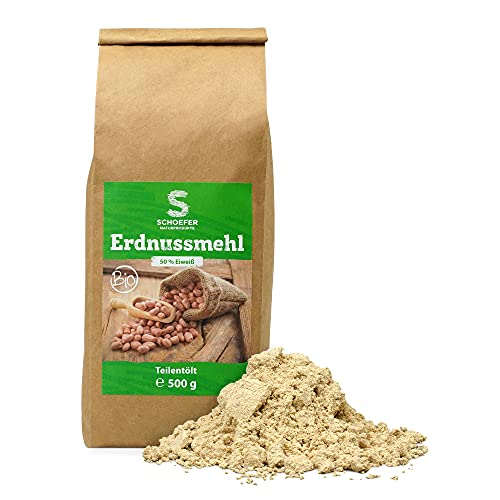 Schoefer Naturprodukte BIO Erdnuss-Mehl - 100 % vegan, glutenfrei & laktosefrei - Low Carb Ernährung - proteinreich & nachhaltig - 500g Packung