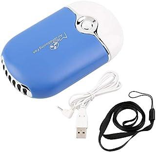 Panamami Fácil de operar Conveniente Recargable Portátil Mini Aire Acondicionado de Mano Ventilador Enfriador USB Enfriador Regalo práctico - Azul