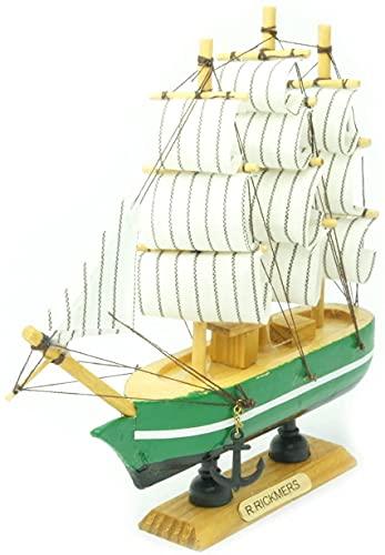 Modelo de barco de vela de madera Barco de vela en miniatura Barco de barco alto Decoración Barco de vela náutica Marina Costero Adorno de mesa Maodel marino