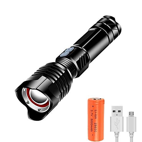 Linterna LED Recargable Superbrillante Potente Linterna Táctica, 5 Modos de Enfoque Ajustable, Linterna de Mano Impermeable con Batería 26650 para Camping, Senderismo, Emergencia