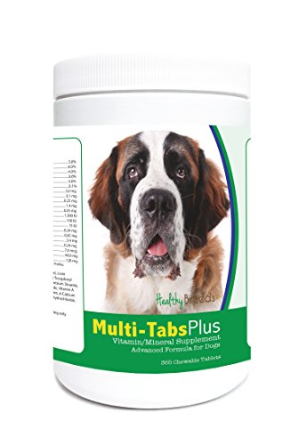 Healthy Breeds Dog Daily Vitamin and Mineral Supplement Chewable Tabs for Saint Bernard - Over 80 Breeds – 180, 365 Chews – Formula for Young or Senior Pets – Easier Than Liquid, Powder