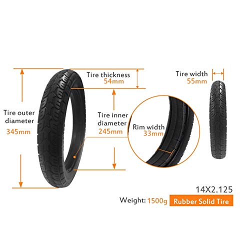 CZLSD 26/24/22/20/18/16/14/12.5/10/8.5 in Bicycle Solid Wear-Resistant Airless Tire Anti Stab Riding MTB Road Bike Tyre (Color : 14 X 2.125)