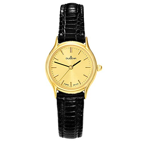 DUGENA Damen-Armbanduhr 1626331 Vintage, Quarz, goldenes Zifferblatt, Edelstahlgehäuse, gehärtetes Mineralglas, Lederarmband, Dornschließe, 3 bar